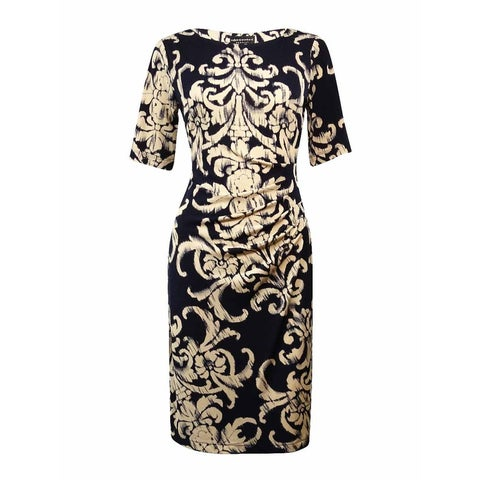 Connected Women's Boat Neckline Ruched Printed Sheath Dress