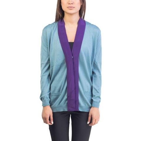 Prada Women's Wool Silk Blend Cardigan Two Tone