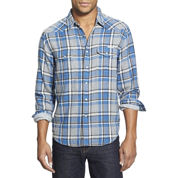 14045ac064 Lucky Brand Western Wear Classic Fit Shirt Small S Blue and Grey Plaid