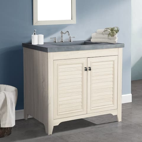 AGH Deco 36 in. Wide Single Vanity Cabinet with Faux Cement Sink Top