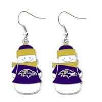 NFL Baltimore Ravens Snowman Dangle Logo Earring Set Charm Gift