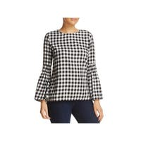 Beach Lunch Lounge Womens Roberta Casual Top Check Print Bell Sleeves