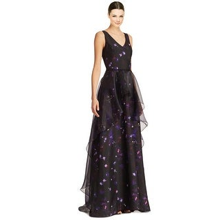 Nha Khanh Fiona Printed Hi Lo Organza Overlay V-Neck Sleeveless Evening Gown Dress - 6