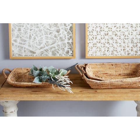 """Set of 3 Grey Sea Grass Eclectic Tray, 21"""", 19"""", 17"""" - 21 x 14 x 5"""