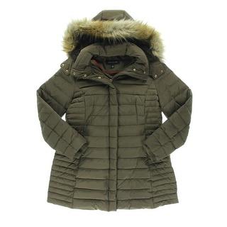 Jones New York Womens Puffer Coat Down Filled Hooded - M
