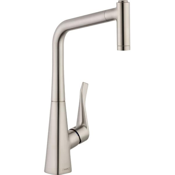 Hansgrohe 14820 Metris High-Arc Pull-Out Kitchen Faucet with Magnetic Docking Spray Head and Locking Diverter