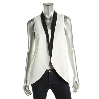 BCBGeneration Womens Casual Vest Textured Contrast Collar