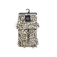 Women's Leopard 3 Piece Fleece Hat, Scarf & Glove Winter Set - regular
