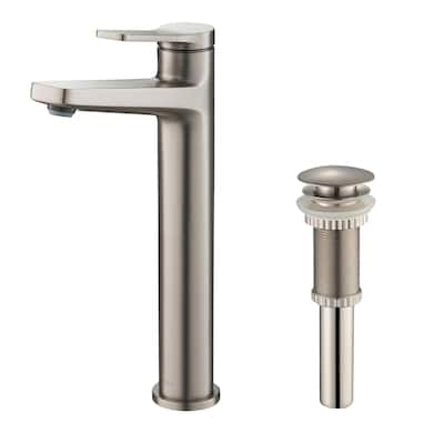 KRAUS Indy Single Handle 1-Hole Vessel Bathroom Faucet w/ Pop Up Drain