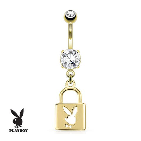 Lock With Playboy Bunny Die-Cut Dangle gold-plated Navel Belly Button Ring