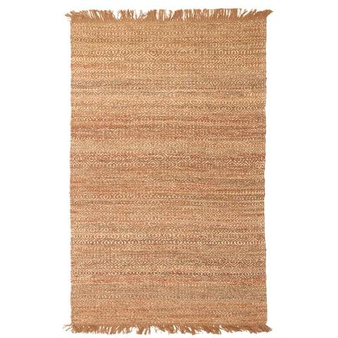 ECARPETGALLERY Flat-weave Palas Denizli Brown Jute Kilim - 5'1 x 7'5