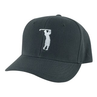 CapRobot Golfer Swing Mid Crown Curved Brim Adjustable Snapback Cap Hat - Chrocal White - Grey