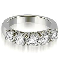 0.70 CT.TW Prong Set Round Cut Diamond Wedding Band - White H-I