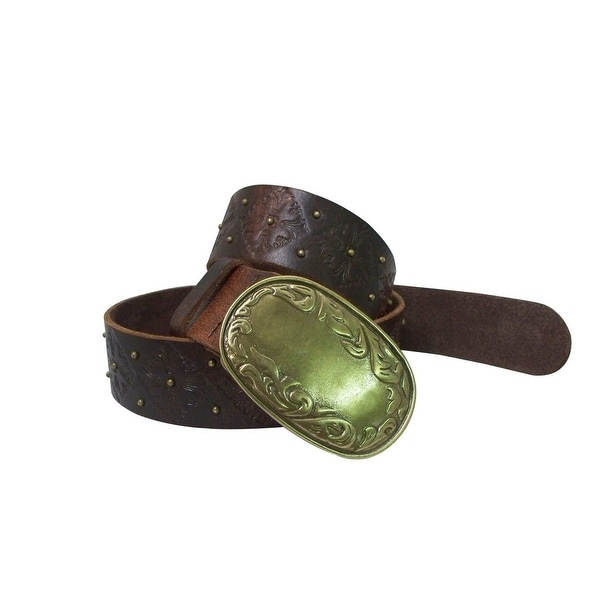 Danbury Western Belt Womens Distressed Leather Brass Tan