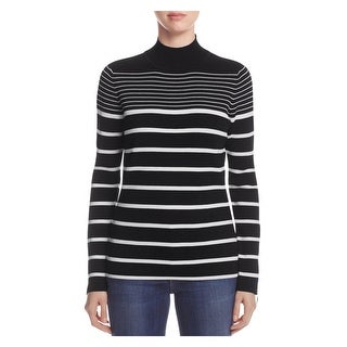 Marled Reunited Clothing Womens Mock Turtleneck Sweater Striped Stretch