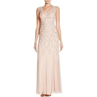 Aidan Mattox Womens Gwen Formal Dress Sequined V-Neck