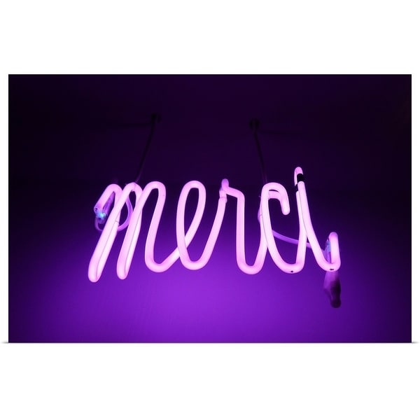 """Pink and purple Neon light sign saying merci "" Poster Print"