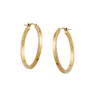 Leaf Design Hoop Earrings in Sterling Silver & 10K Gold - Two-tone