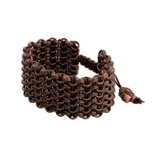 Links Women's Brown Six Row Bracelet in Copper Oxide Plate - CHOCOLATE