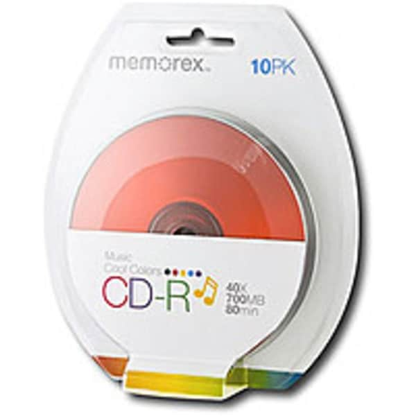 Memorex 32020016658 700 MB CD-R Disc Blister - Multicolor - 10-Pack
