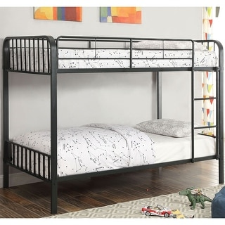 Link to Furniture of America Loby Modern Black Metal Slatted Bunk Bed Similar Items in Twin over Full Bunk Beds