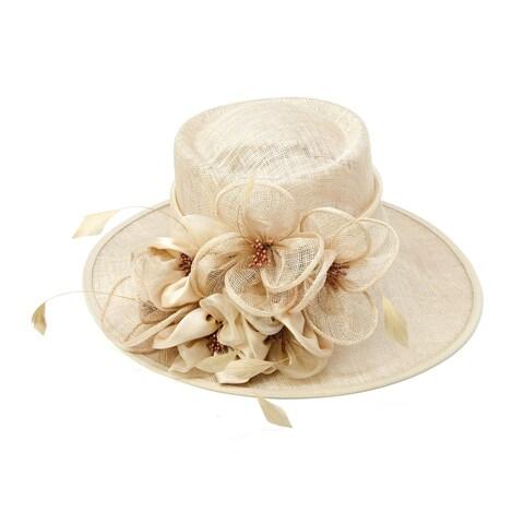 ChicHeadwear Womens Wide Brim Bow Sinamay Fashion Hat - One size