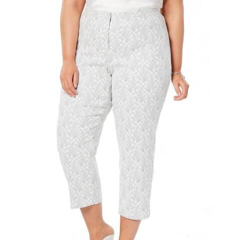 Alfani Womens Pants Gray Size 24W Plus Capris Cropped Stretch Shimmer