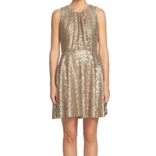 CeCe NEW Champagne Gold Womens Size 6 Sequin Pleated A-Line Dress