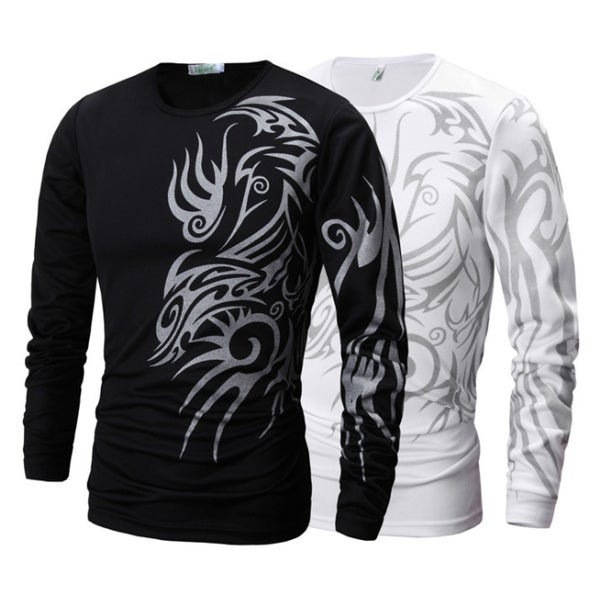 Men's O-neck Long Sleeve Cotton Polo Shirts Plus Size T-shirts