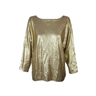 Lauren Ralph Lauren Plus Size Gold Lurex Metallic Dolman-Sleeve Sweater 1X