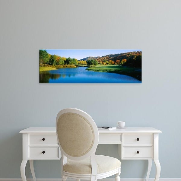 Easy Art Prints Panoramic Image 'Lake on a golf course, The Raven Golf Club, Showshoe, West Virginia, USA' Canvas Art