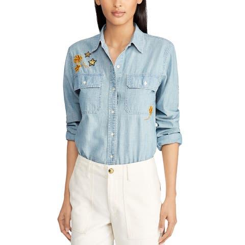 Lauren Ralph Lauren Womens Cotton Chambray Patch Shirt Large Blue