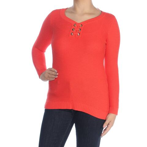CHARTER CLUB Womens Orange Grommet Long Sleeve Jewel Neck Sweater Petites Size: S