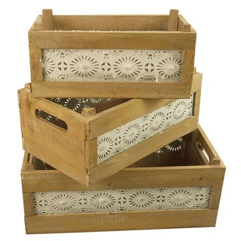 "Wood Nesting Storage Crates with Decorative Lace Panels , Set of 3 - 8'6"" x 13'"