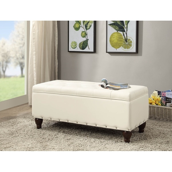 Faux Leather Upholstered Wooden Bench with Storage, White and Brown