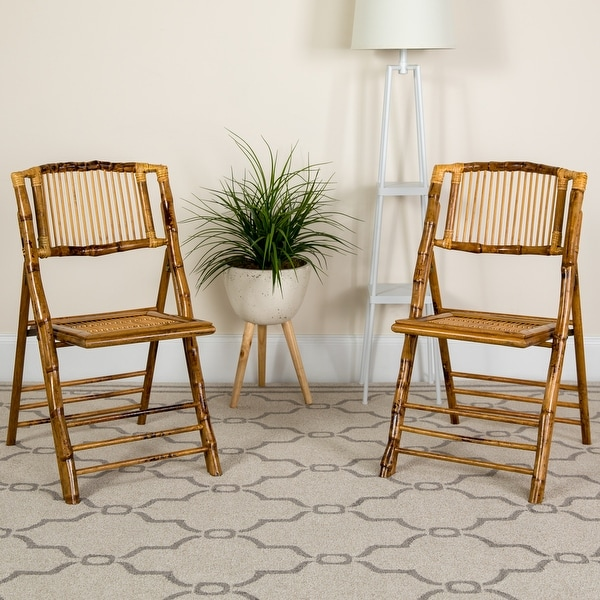 Bamboo Wood Event Folding Chairs (Set of 4). Opens flyout.