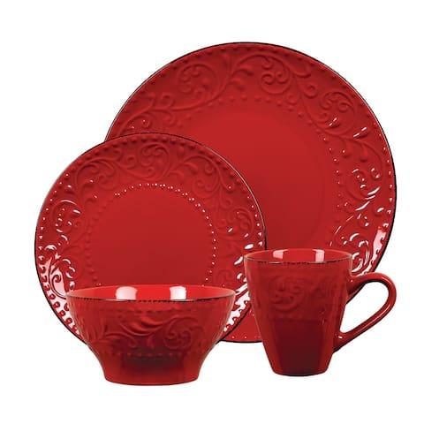 Lorren Home Trends 16 Piece Stoneware Scroll Dinnerware Set-Red