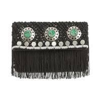 Sam Edelman Lisa Womens Foldover Macrame Clutch Handbag Black