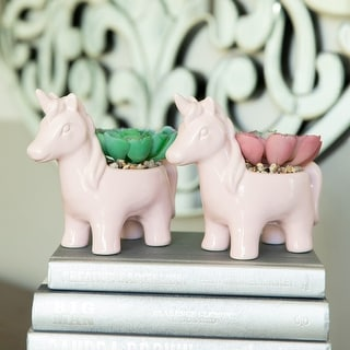 Link to Artificial Plant in CERAMIC UNICORN Pot, Set of 2 - ONE-SIZE Similar Items in Planters, Hangers & Stands