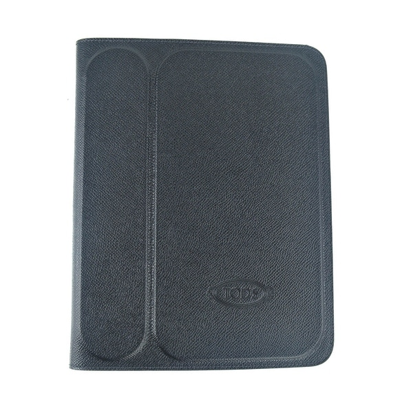Tods Mens Black Grained Stamped Leather Ipad 2 Case