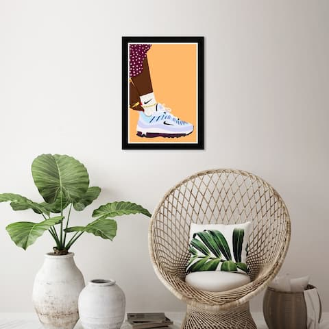 Wynwood Studio 'Going out in my Sneakers' Fashion and Glam Wall Art Framed Print Shoes - Orange, Red