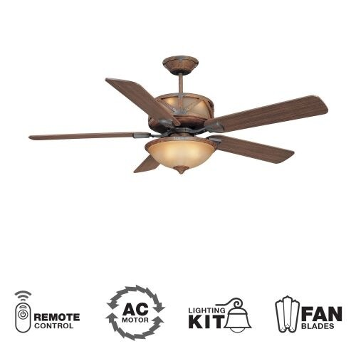 "Ellington Fans Deer Lodge Classic 60"" 5 Blade Indoor Ceiling Fan - Blades, Light Kit and Remote Control Included"