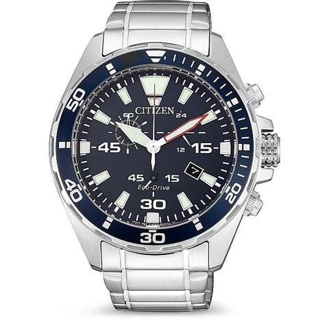 Citizen Men's AT2431-87L 'Eco-Drive' Chronograph Stainless Steel Watch - Blue
