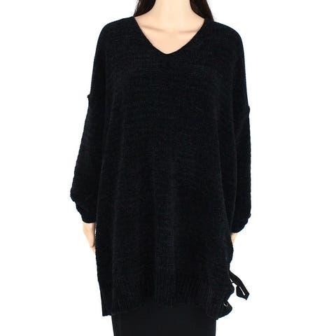 Style & Co Womens Sweater Black Size 3X Plus Lace Up Side V-Neck Tunic