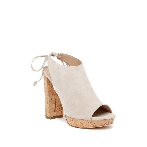 Pour La Victoire Womens Yannacs Suede Peep Toe Casual, sand 283, Size 9.5
