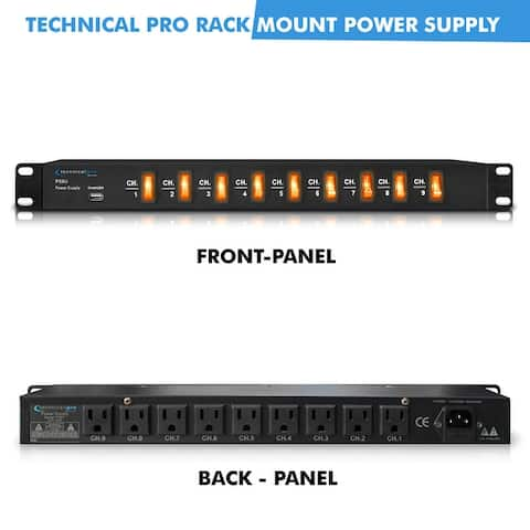 Technical Pro 1800 Watts Rack Mount Power Strip with 5V USB Charging Port, 9 power switches, Heavy Duty Electric Extension Cords