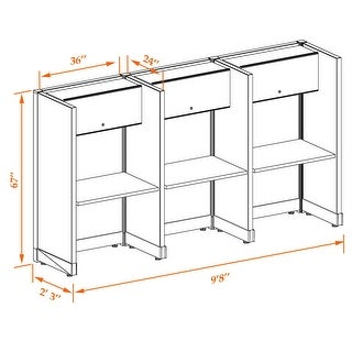 Tall Cubicles 67H 3pack Inline Unpowered (2x3 - Espresso Desk White Paint - Assembly Required)