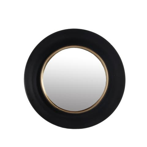 Dual Encased Metal Frame Round Wall Mirror, Small, Black and Gold