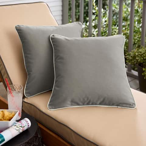Sunbrella Canvas Charcoal/ Canvas Natural Indoor/ Outdoor Pillow Set