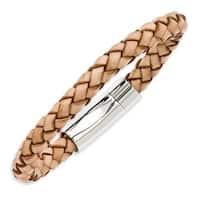 Stainless Steel Light Tan Leather 8.5in Bracelet